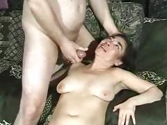 Mature Asian slut blows and takes the cock in her bushy cunt