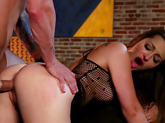 Dani Daniels rides on dick and gets cum in mouth