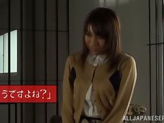 Risa Shiina gets mouth fucked by two men in a prison