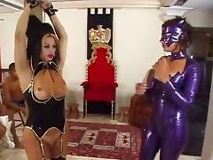Dominate female makes slave boys jerk off a shemale