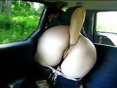 Fisting Anal solo in car.
