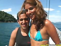 Dani the tanned Latin babe gets fucked on a yacht