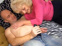 Blonde granny takes black fake cock