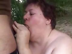 Dirty BBW Granny Fucked Outdoors