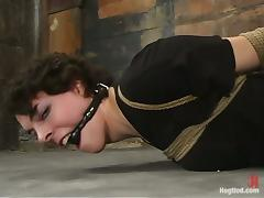 Nasty girl gets twitched and ball gagged