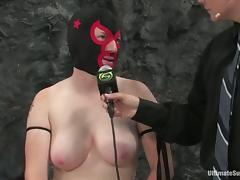 Hot chicks fight and also use their strap-on in a ring