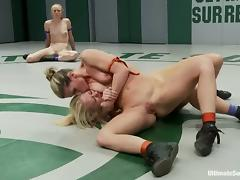 Four nude sluts enjoy fighting with each other on tatami