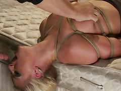 Smoking hot blond babe Phoenix Marie gets to suck in bondage