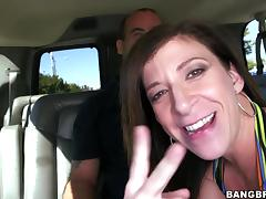 sara jay is in the back seat