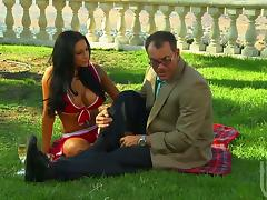 Audrey Bitoni enjoys doggy style sex and gets facialed in the garden