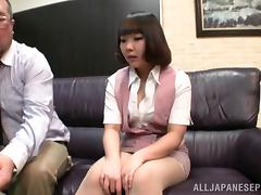 Two dudes are teasing this horny Japanese milf