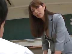 Asian Mature Teacher Keeps Her Favorite Student After Class