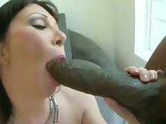 Brunette cougar sucks big black cock
