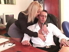 Slutty secretary Kathia Nobili relaxes her cocky boss