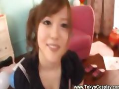 Asian girl plays a naughty twister game